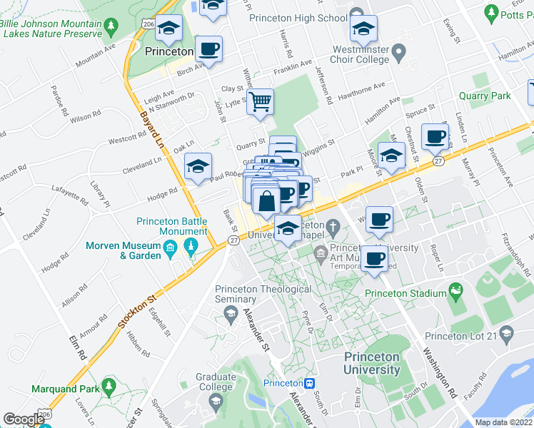 map of restaurants, bars, coffee shops, grocery stores, and more near Palmer Square in Princeton
