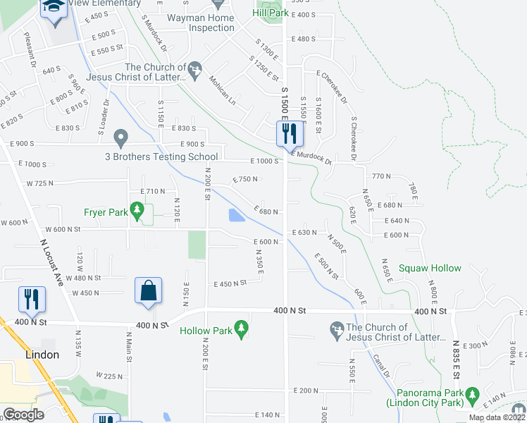 map of restaurants, bars, coffee shops, grocery stores, and more near 239 East 680 North in Lindon
