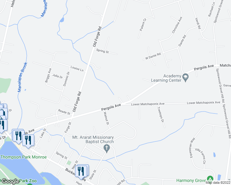 map of restaurants, bars, coffee shops, grocery stores, and more near 8 Diana Lane in Monroe Township