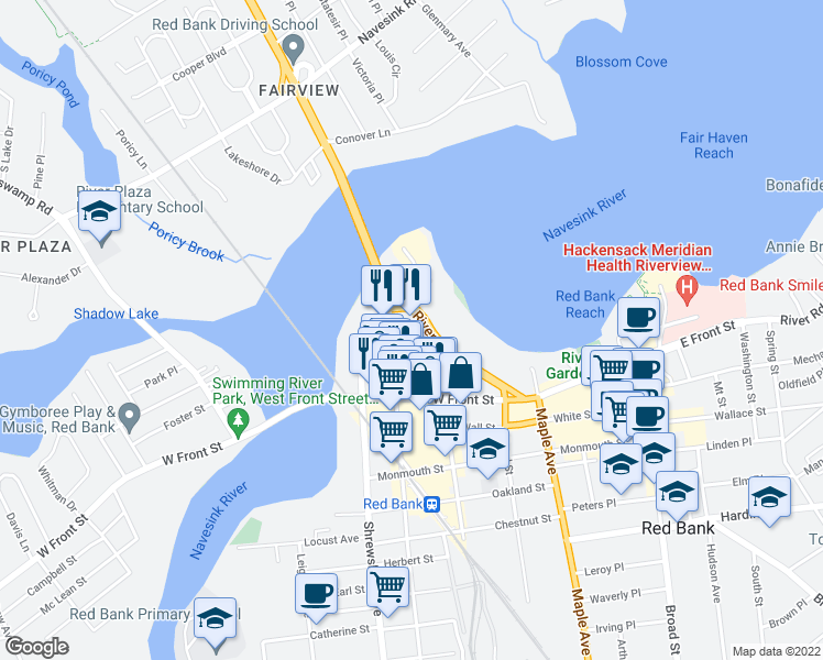 map of restaurants, bars, coffee shops, grocery stores, and more near 57 Morford Place in Red Bank