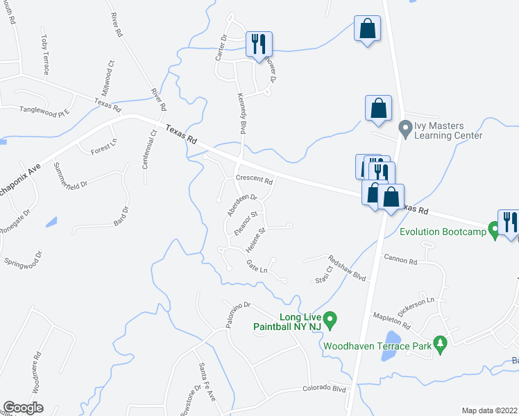 map of restaurants, bars, coffee shops, grocery stores, and more near 11 Aberdeen Drive in Old Bridge Township