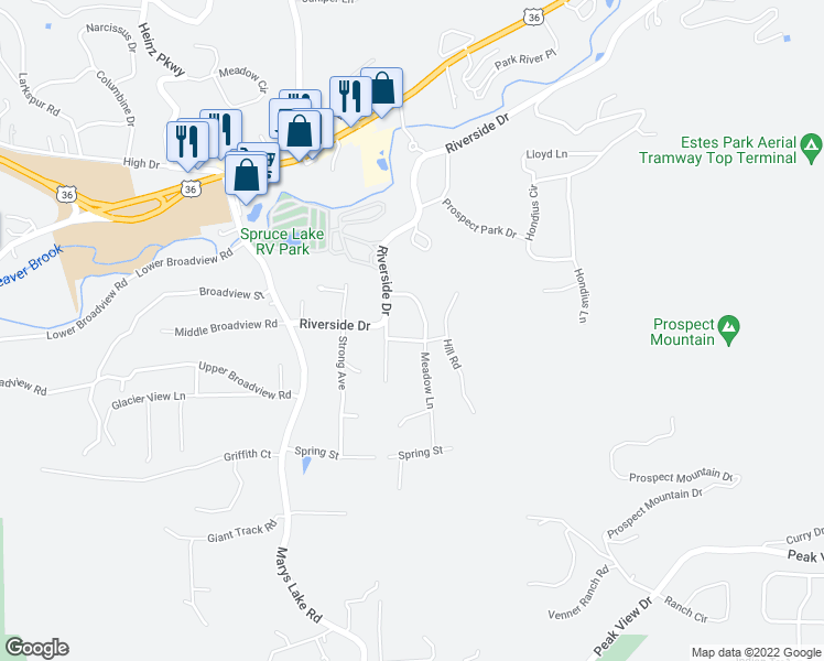map of restaurants, bars, coffee shops, grocery stores, and more near 1221 Meadow Lane in Estes Park