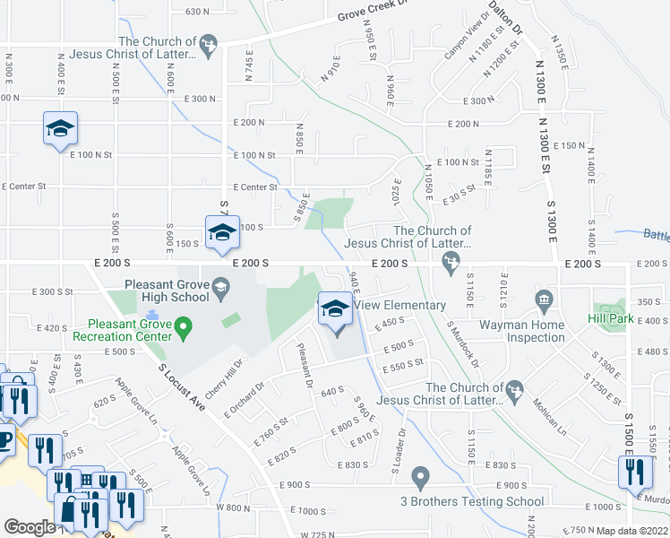 map of restaurants, bars, coffee shops, grocery stores, and more near 237 Cherry Hill Drive in Pleasant Grove