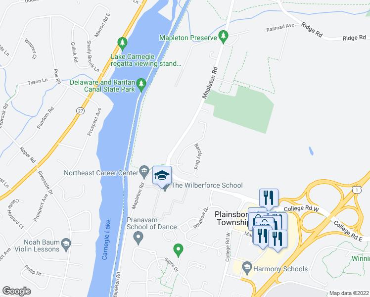 map of restaurants, bars, coffee shops, grocery stores, and more near 1005 Barclay Boulevard in Princeton