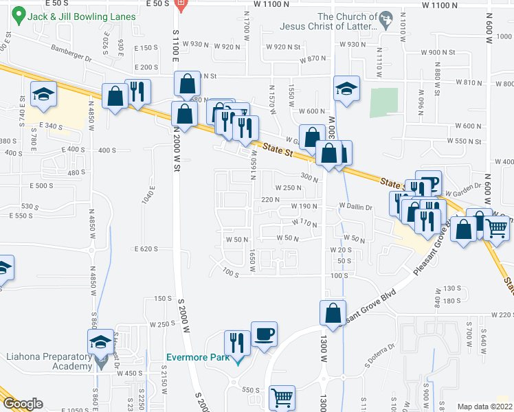map of restaurants, bars, coffee shops, grocery stores, and more near 189 North 1630 West in Pleasant Grove
