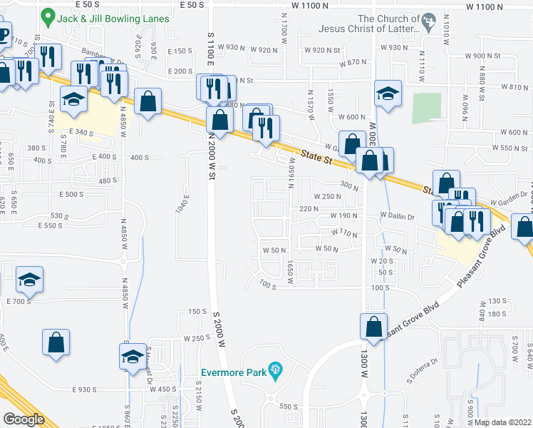 map of restaurants, bars, coffee shops, grocery stores, and more near 165 North 1650 West in Pleasant Grove