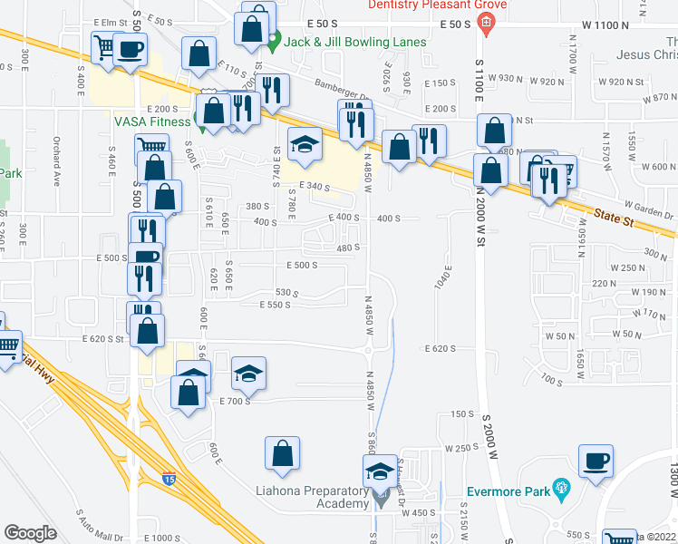 map of restaurants, bars, coffee shops, grocery stores, and more near 834 East 500 South in American Fork