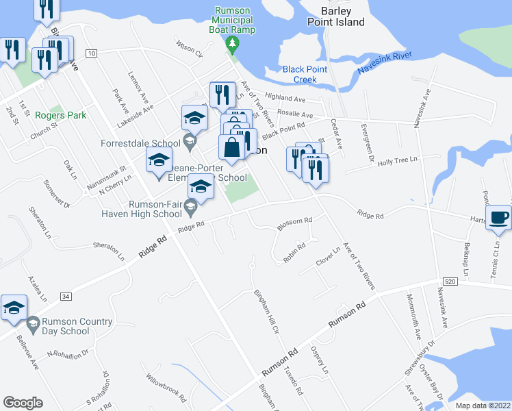 map of restaurants, bars, coffee shops, grocery stores, and more near in Rumson