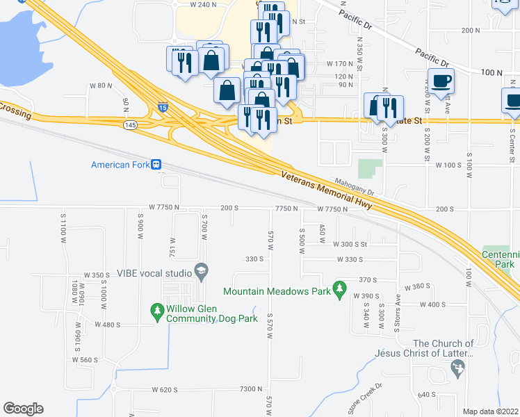 map of restaurants, bars, coffee shops, grocery stores, and more near 600 West 7750 North in American Fork
