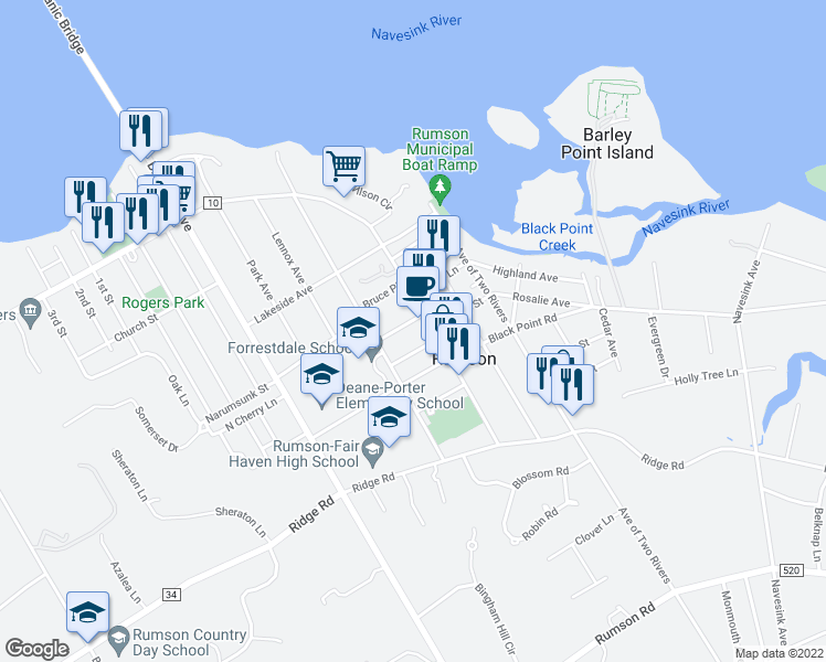 map of restaurants, bars, coffee shops, grocery stores, and more near 7 North Street in Rumson
