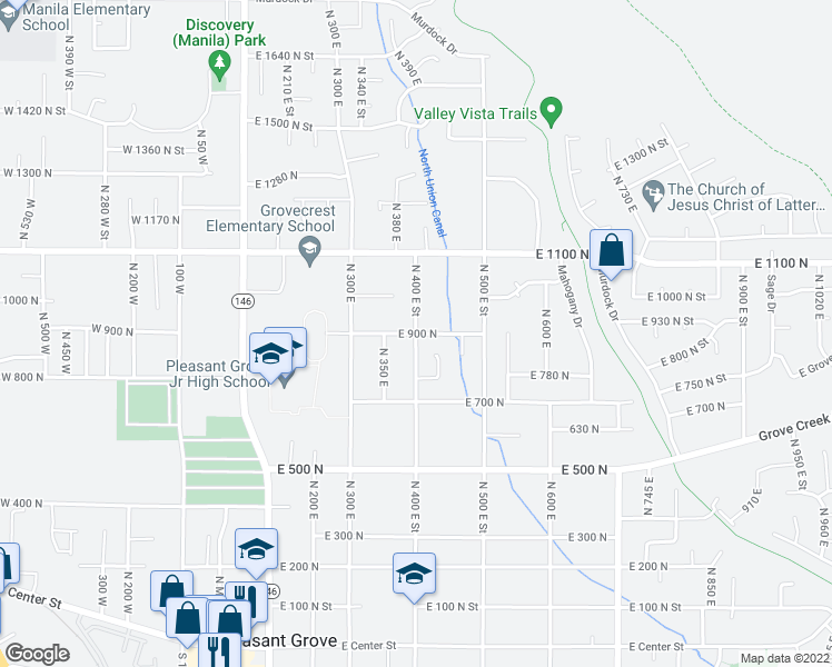 map of restaurants, bars, coffee shops, grocery stores, and more near East 900 North in Pleasant Grove