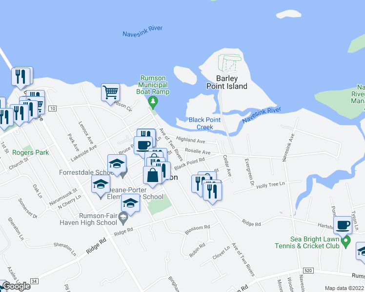map of restaurants, bars, coffee shops, grocery stores, and more near 7 Rosalie Avenue in Rumson