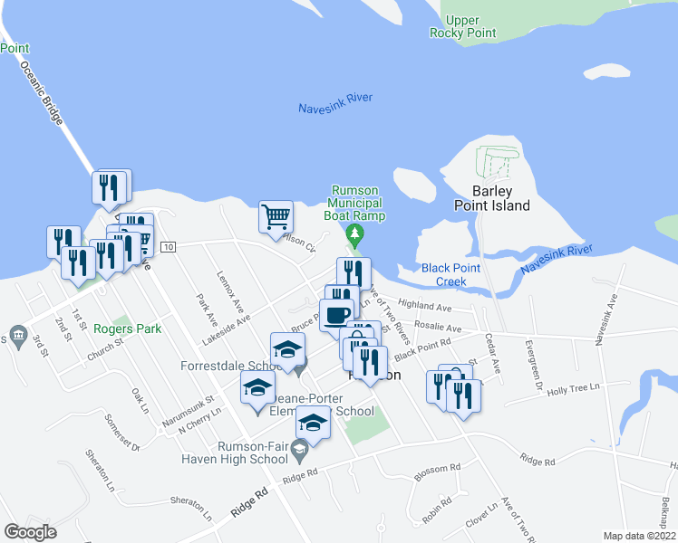map of restaurants, bars, coffee shops, grocery stores, and more near 13 Meadowbrook Avenue in Rumson
