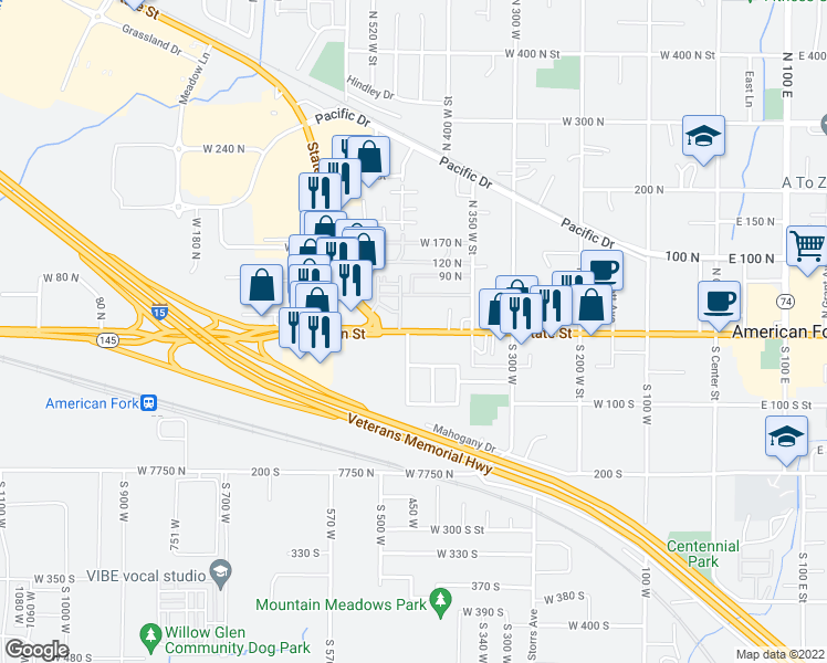map of restaurants, bars, coffee shops, grocery stores, and more near West Main Street in American Fork
