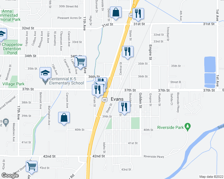 map of restaurants, bars, coffee shops, grocery stores, and more near 979 37th Street in Evans