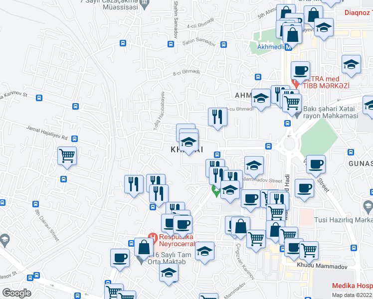 map of restaurants, bars, coffee shops, grocery stores, and more near in Baku
