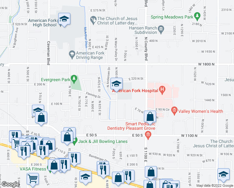 map of restaurants, bars, coffee shops, grocery stores, and more near 114-158 North 900 East Street in American Fork