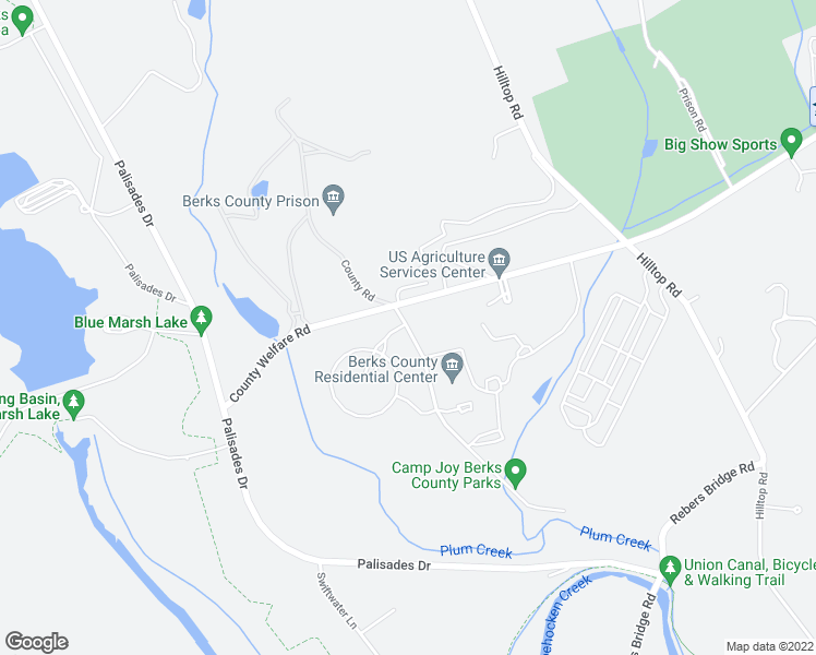 map of restaurants, bars, coffee shops, grocery stores, and more near Berks Road in Leesport