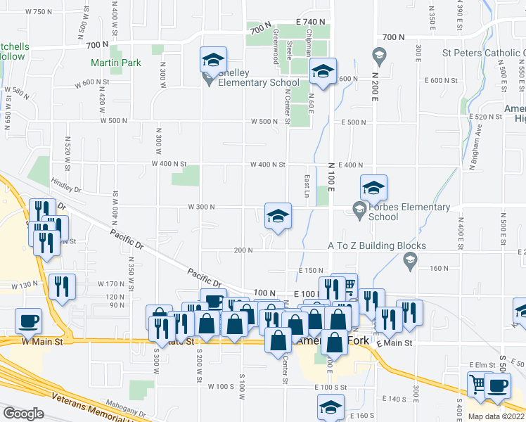 map of restaurants, bars, coffee shops, grocery stores, and more near 69 West 300 North in American Fork