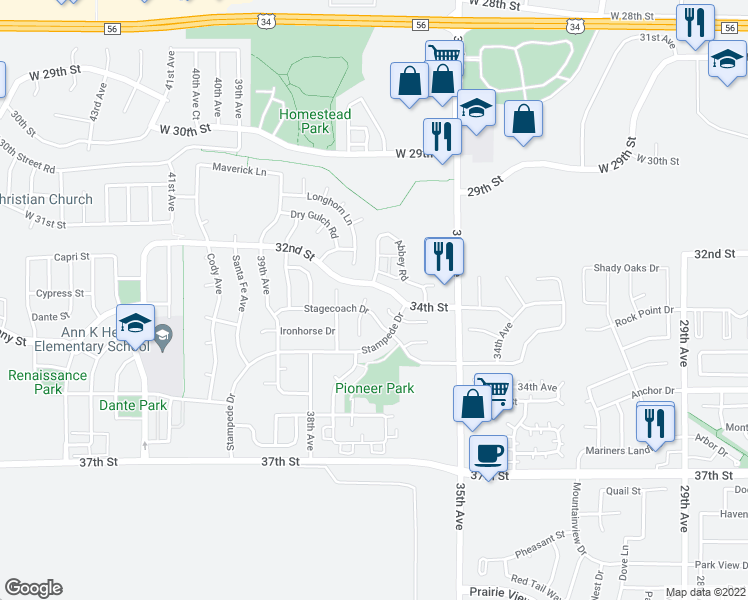 map of restaurants, bars, coffee shops, grocery stores, and more near 3306 Windmill Court in Evans
