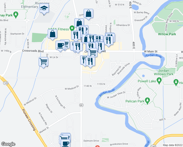 map of restaurants, bars, coffee shops, grocery stores, and more near 80 East in Saratoga Springs
