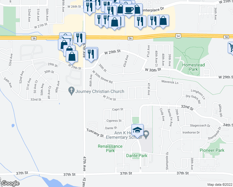 map of restaurants, bars, coffee shops, grocery stores, and more near 3026 43rd Avenue Court in Greeley