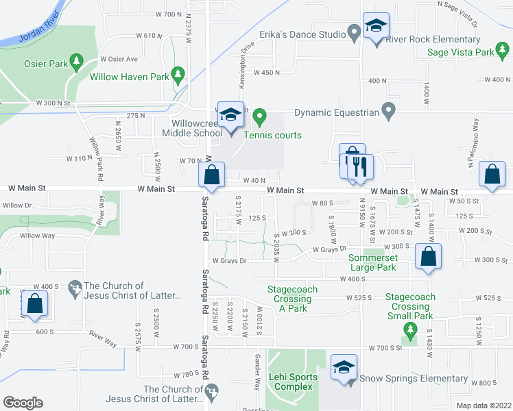 map of restaurants, bars, coffee shops, grocery stores, and more near 68 South Willow Circle Loop in Lehi