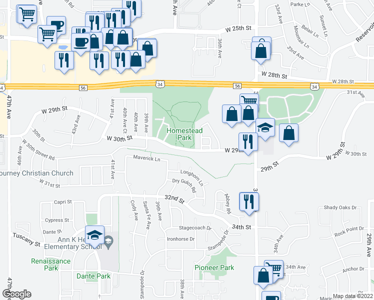 map of restaurants, bars, coffee shops, grocery stores, and more near 3003 Bison Court in Evans