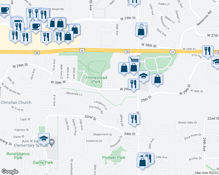 map of restaurants, bars, coffee shops, grocery stores, and more near 3623 West 29th Street in Greeley