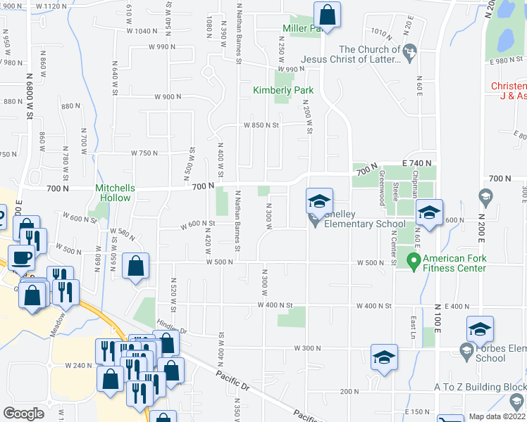 map of restaurants, bars, coffee shops, grocery stores, and more near 655 North 300 West in American Fork