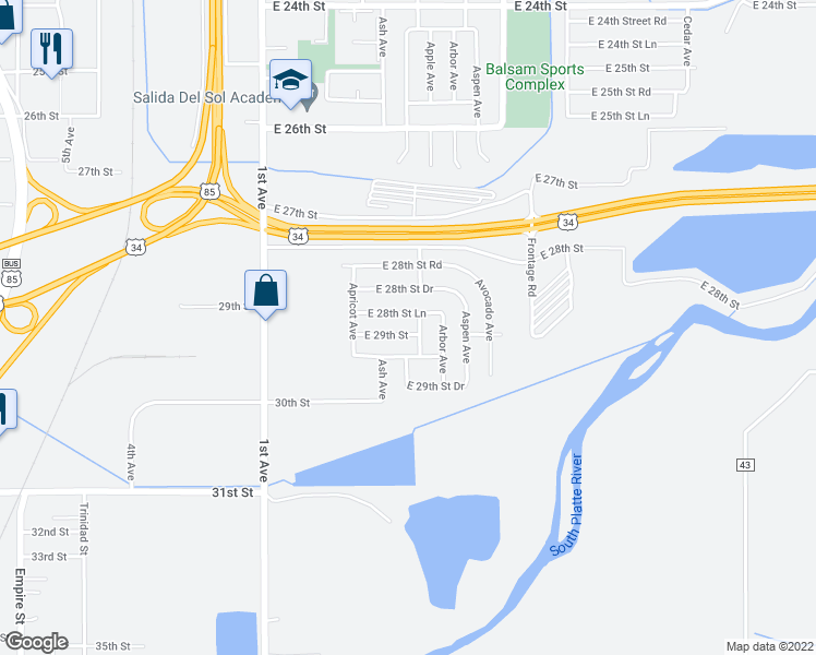 map of restaurants, bars, coffee shops, grocery stores, and more near 421 East 29th Street in Greeley