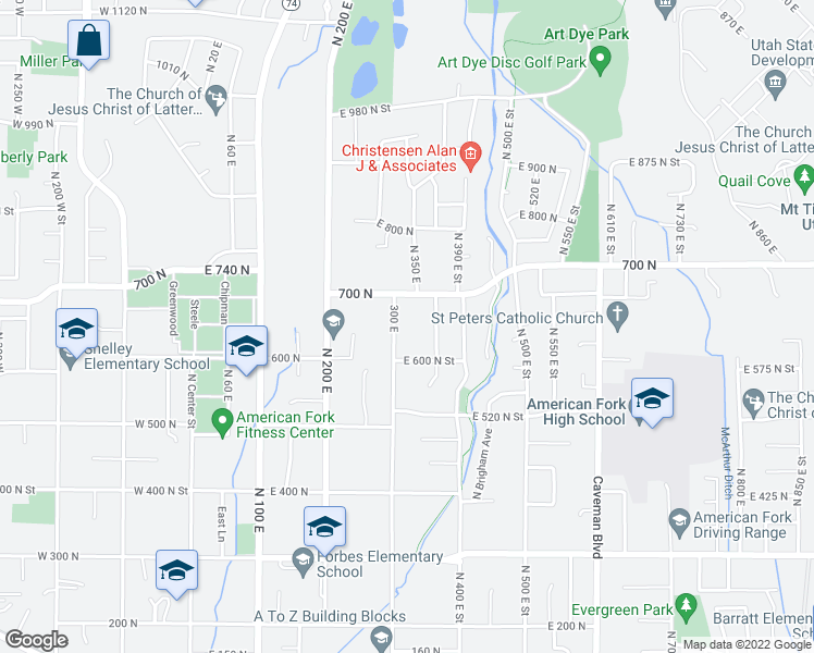 map of restaurants, bars, coffee shops, grocery stores, and more near 75 East Main Street in American Fork