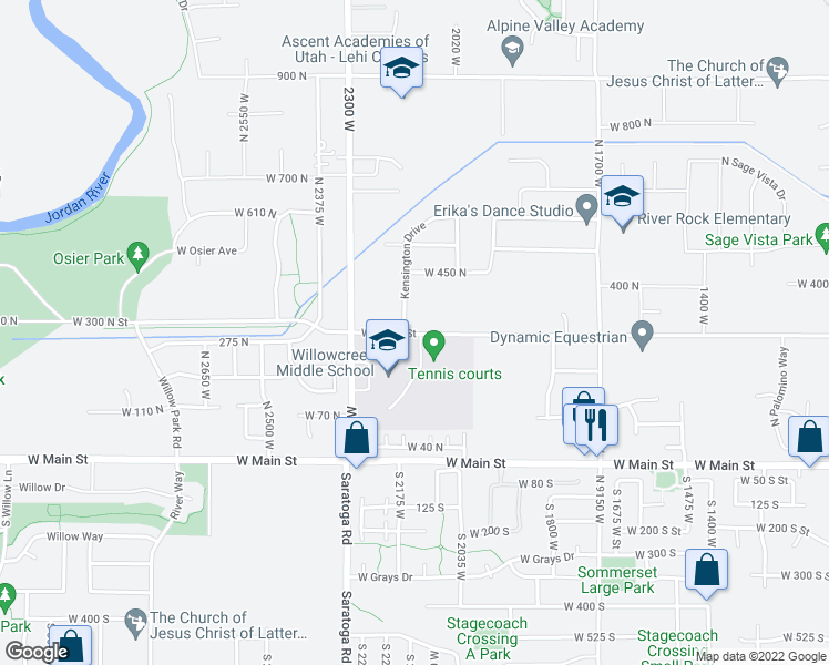 map of restaurants, bars, coffee shops, grocery stores, and more near 2203 West 300 North in Lehi