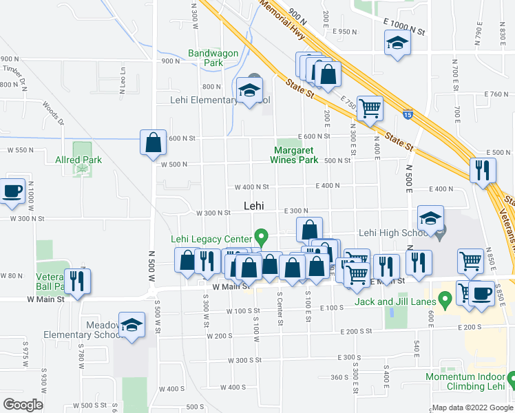 map of restaurants, bars, coffee shops, grocery stores, and more near 86 West 300 North in Lehi
