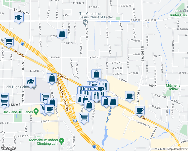 map of restaurants, bars, coffee shops, grocery stores, and more near 326 North 1270 East in Lehi