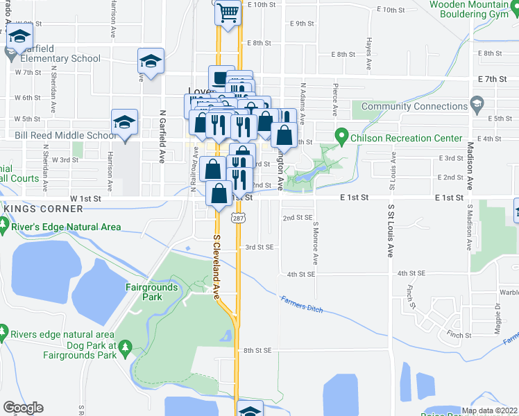 map of restaurants, bars, coffee shops, grocery stores, and more near 129 South Jefferson Avenue in Loveland