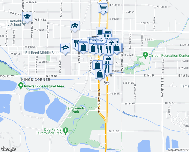 map of restaurants, bars, coffee shops, grocery stores, and more near 131 2nd Street Southeast in Loveland