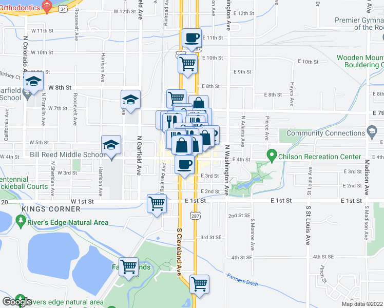 map of restaurants, bars, coffee shops, grocery stores, and more near 239 East 4th Street in Loveland