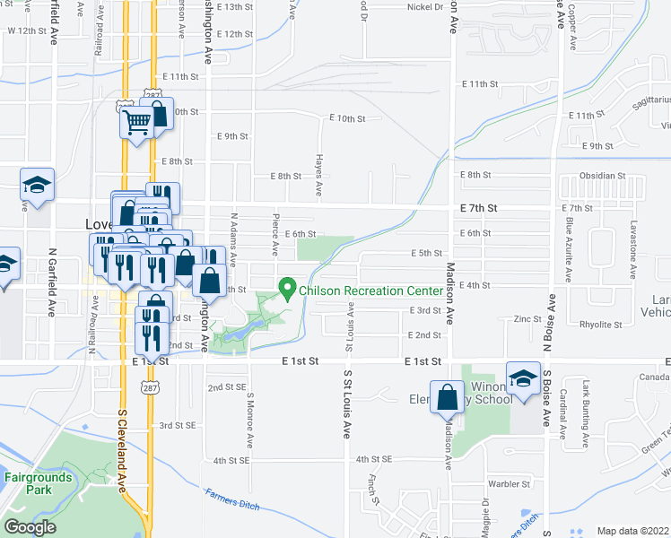 map of restaurants, bars, coffee shops, grocery stores, and more near 1026 East 5th Street in Loveland