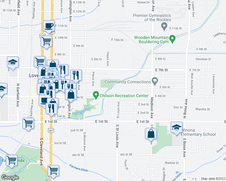 map of restaurants, bars, coffee shops, grocery stores, and more near 1024 East 5th Street in Loveland