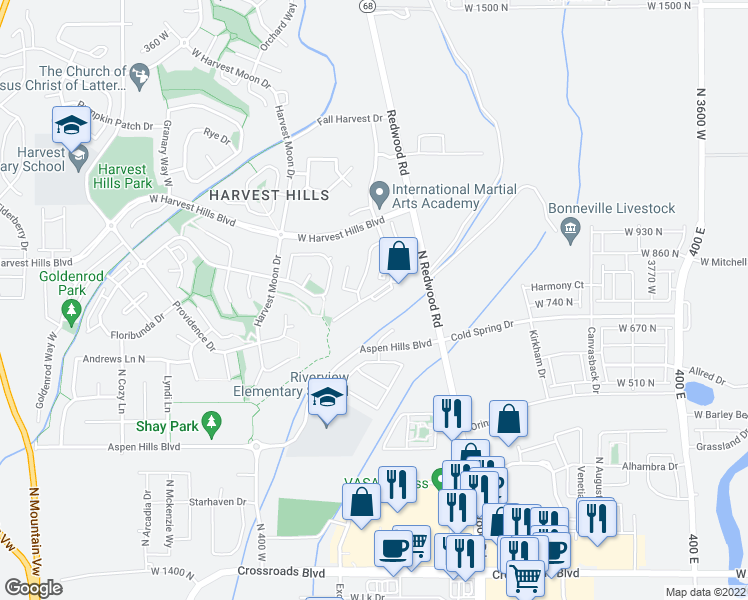 map of restaurants, bars, coffee shops, grocery stores, and more near 239 West Ridge Road in Saratoga Springs