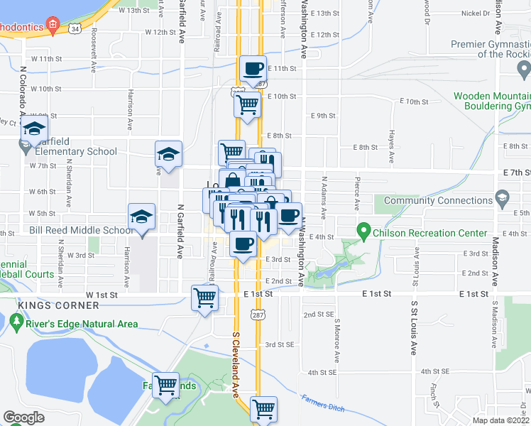 map of restaurants, bars, coffee shops, grocery stores, and more near 201-299 East 5th Street in Loveland