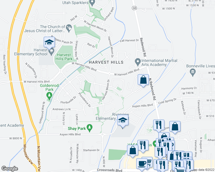 map of restaurants, bars, coffee shops, grocery stores, and more near 1874 Harvest Moon Drive in Saratoga Springs