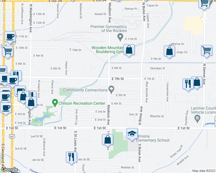 map of restaurants, bars, coffee shops, grocery stores, and more near 640 Madison Avenue in Loveland