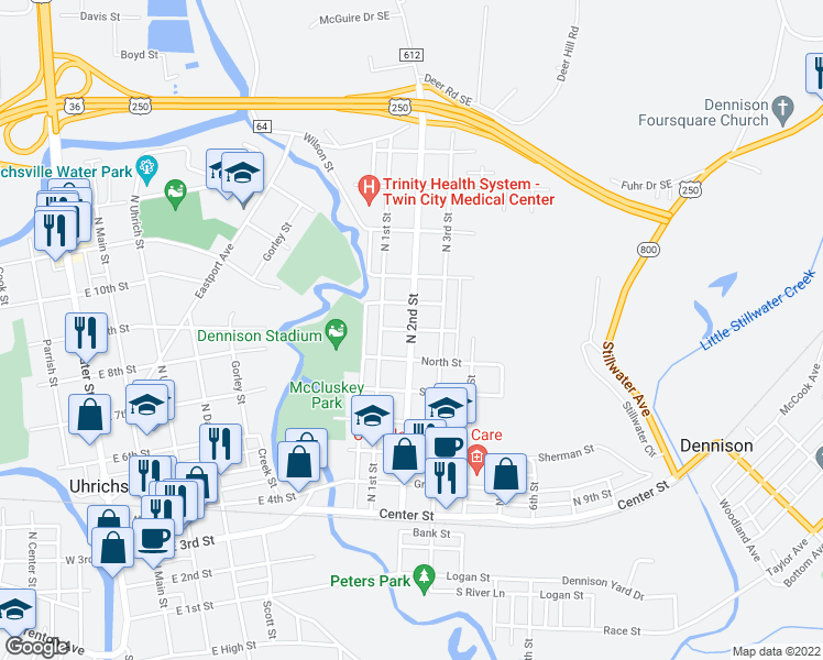 map of restaurants, bars, coffee shops, grocery stores, and more near North 2nd Street in Dennison