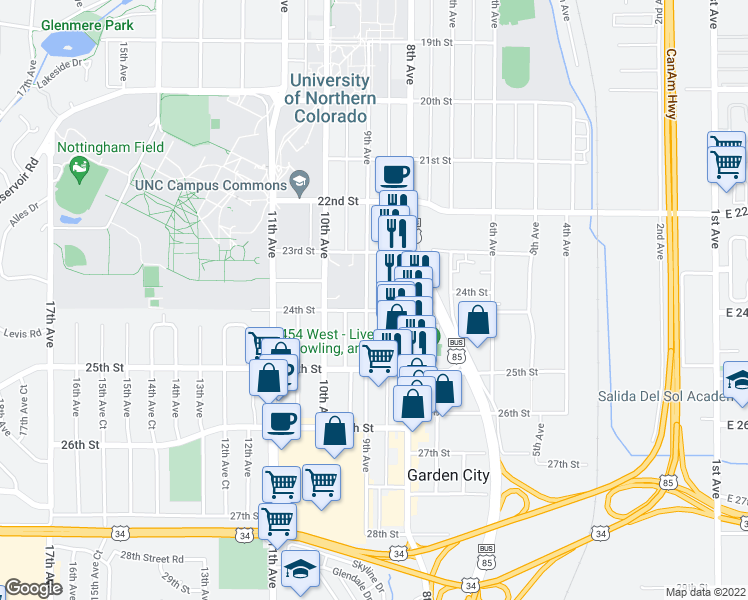 map of restaurants, bars, coffee shops, grocery stores, and more near 2340 9th Avenue in Greeley