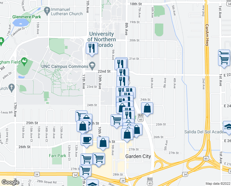 map of restaurants, bars, coffee shops, grocery stores, and more near 2312 9th Avenue in Greeley
