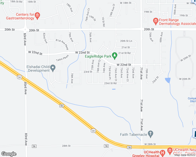 map of restaurants, bars, coffee shops, grocery stores, and more near 2337 74th Avenue Court in Greeley