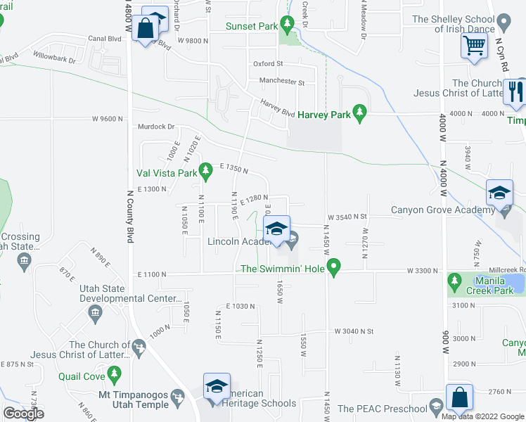 map of restaurants, bars, coffee shops, grocery stores, and more near 1265 North 1270 East in American Fork