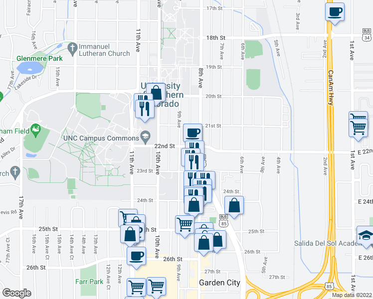 map of restaurants, bars, coffee shops, grocery stores, and more near 820 22nd Street in Greeley
